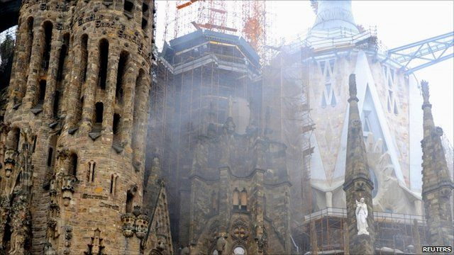 Smoke coming from the crypt of the Sagrada Familia