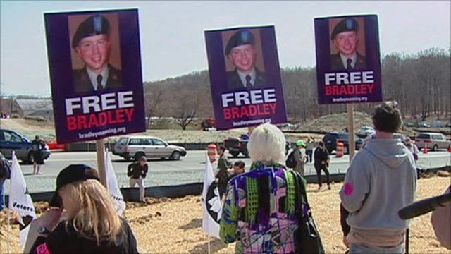 Protesters calling for the release of Private Bradley Manning