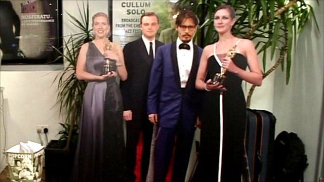 Cardboard cut-outs of Hollywood stars