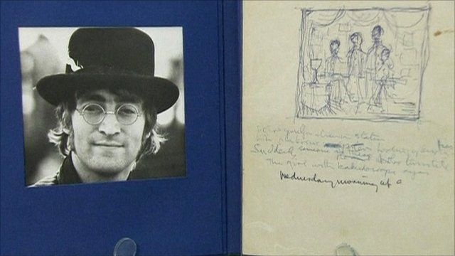 Picture of Lennon and handwritten lyrics
