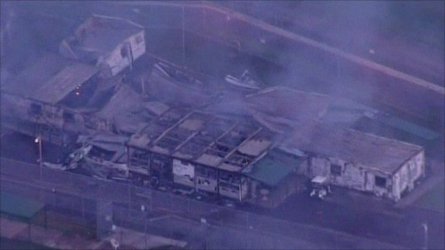 Burnt-out building at Villawood Detention Centre in Sydney