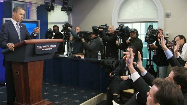 President Obama makes a rare appearance in the White House press briefing room