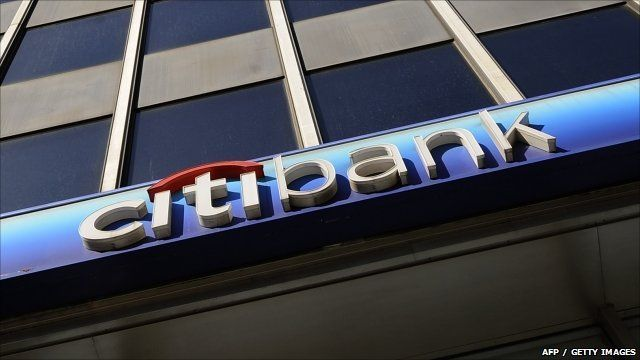 Citibank sign on Lower Manhattan branch of the bank