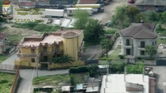 Two of the houes seized in the police raid on the Mafia