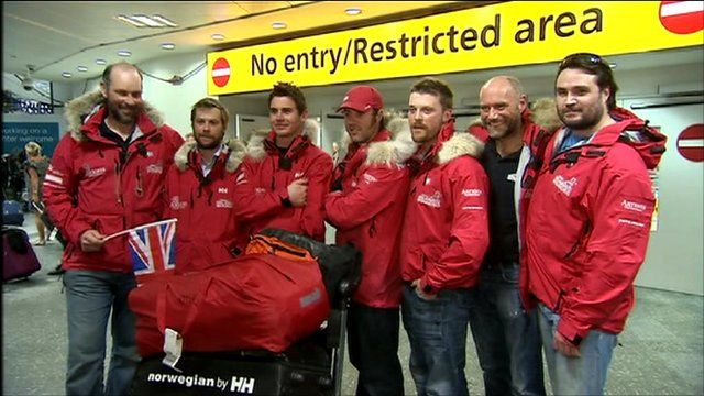 Wounded servicemen after trek to North Pole
