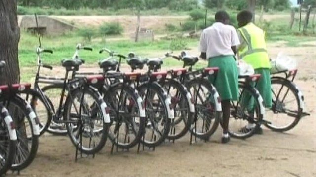 Female students with their bikes in Zimbabwe