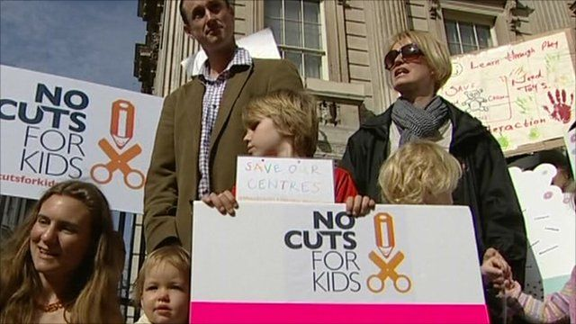 Families protesting cuts