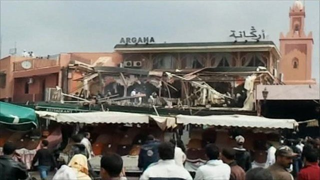 The damaged Argana cafe