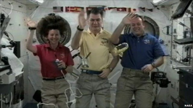 Cady Coleman, Paolo Nespoli and Ron Garan on the ISS