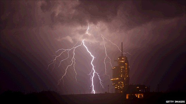 Storm over the launch pad