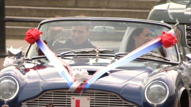 Royal Wedding William Drives Bride In Aston Martin Bbc News