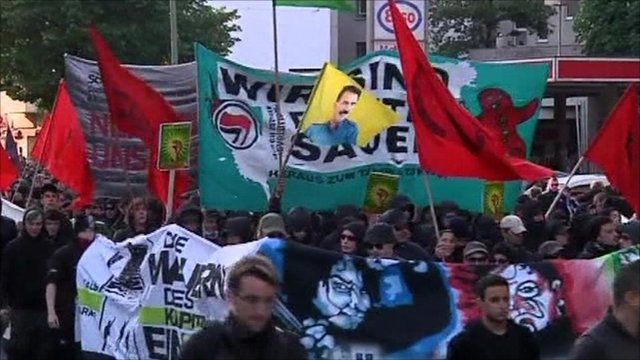 Germans rallying in Labour Day protests