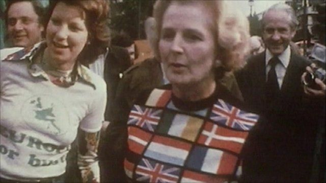 Margaret Thatcher campaigning in 1975 referendum
