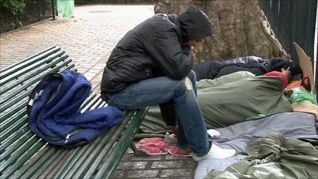 Migrants sleeping in park