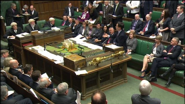 Scene in the House of Commons during PMQs