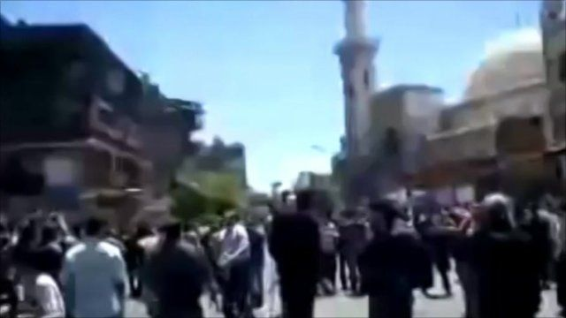 Amateur video of the protests forming outside a mosque in central Damascus