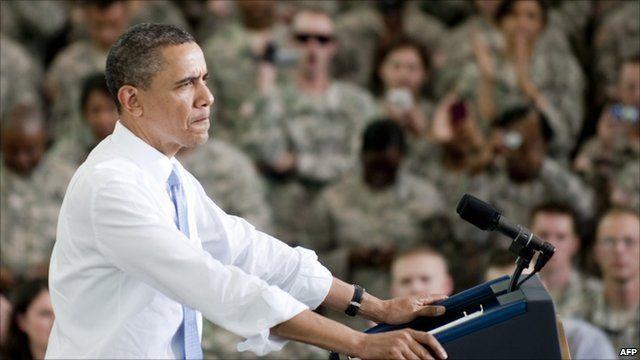 President Obama addressing troops