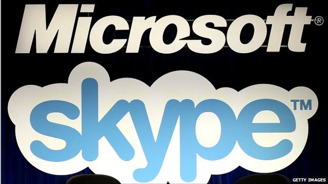 Microsoft and Skype logos