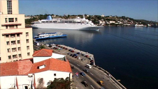 Cruise ship leaving Cuba
