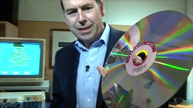 Rory Cellan-Jones with a laser disc and a BBC Micro computer running the Domesday project