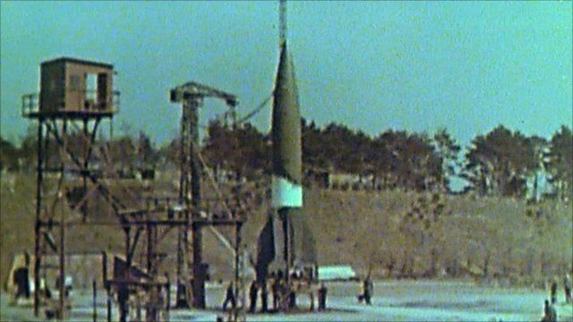 The German V-2 missile being prepared for launch