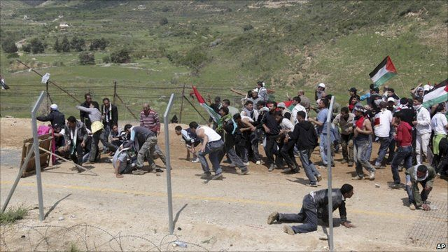 Protesters at Golan Heights border crossing