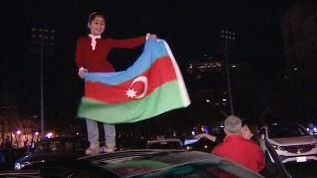 Girl celebrating Eurovision win