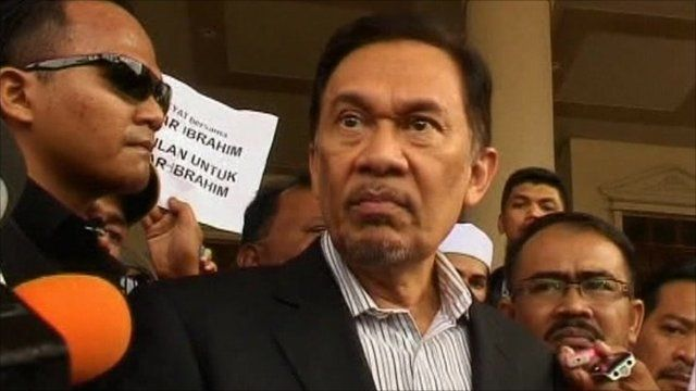 Anwar Ibrahim outside court