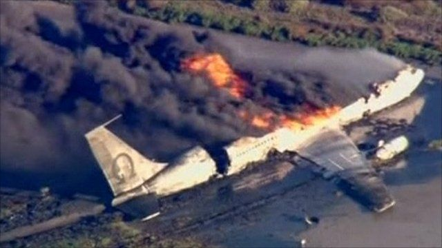 us military plane crashes during take off bbc news