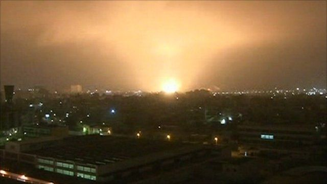 A Nato air strike hits Tripoli