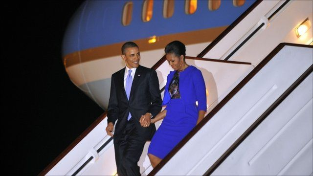 US President Barack Obama and First Lady Michelle Obama arrive at Stansted airport