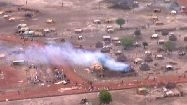 Building on fire in Abyei