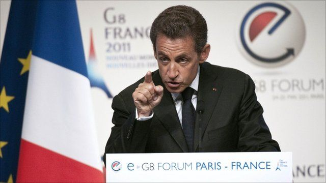 French President Nicolas Sarkozy addresing eG8 delegates in Paris