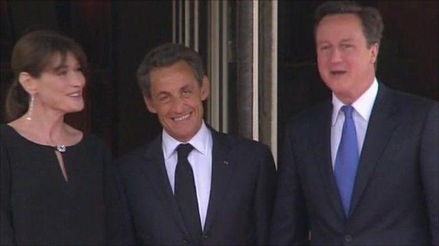 The Sarkozys with David Cameron