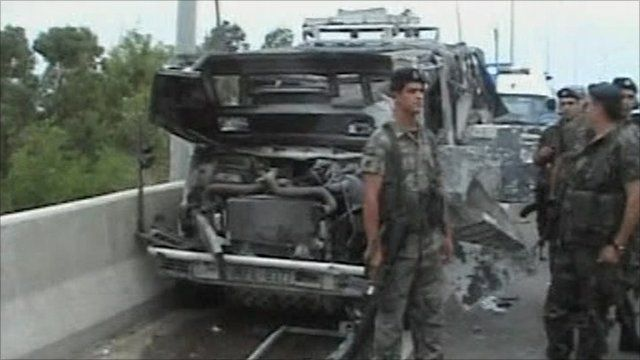 Vehicle damaged by the bomb