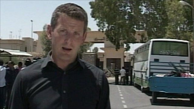 Jon Donnison on the Gaza side of the Rafah crossing