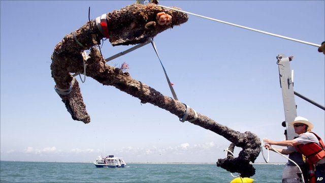 Anchor raised from the ocean off North Carolina coast