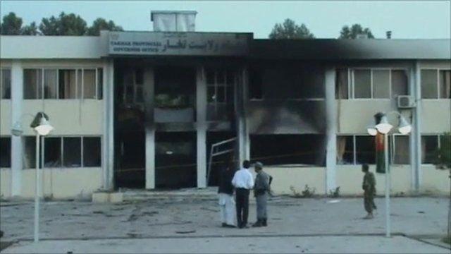 Fire-damaged building