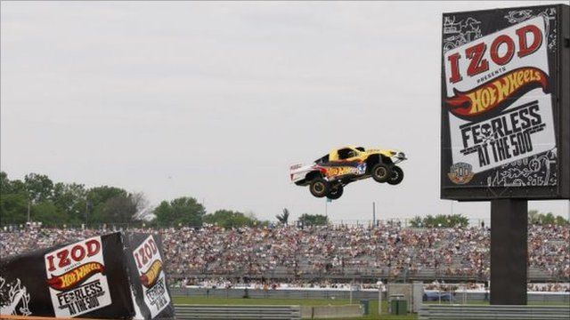 Hot Wheels record car jump at Indy 500