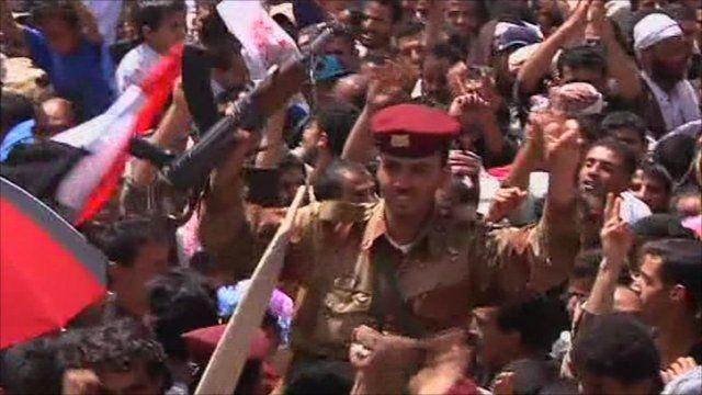 Soldiers cheer in Yemen