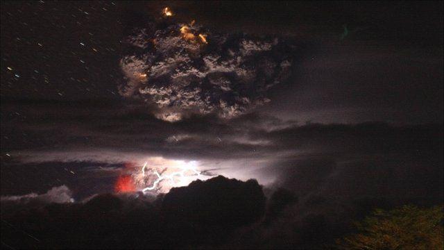 Eruption and lightning