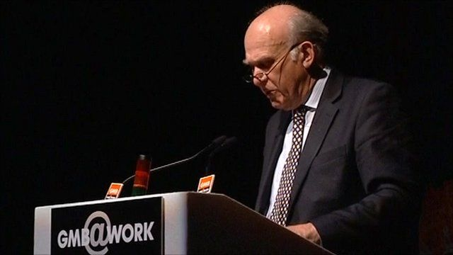 Vince Cable speaking to the GMB conference