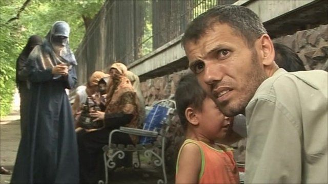 Families of refugees in Kazakhstan