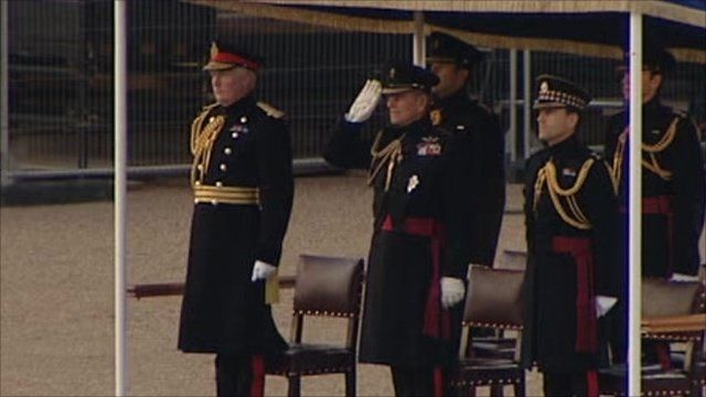 Prince Philip takes the salute