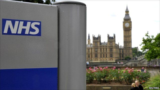 "NHS sign in the grounds of St Thomas"" Hospital, in front of the Houses of Parliament"