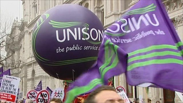 Unison taking part in cuts protest 26 March 2011