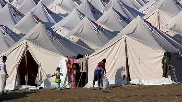 Refugee camp on the Syrian-Turkish border