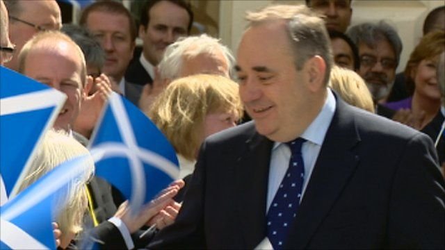 First Minister Alex Salmond greets crowds outside Holyrood