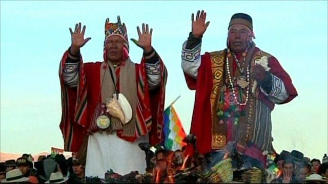 Aymara shamans present offerings to the Gods