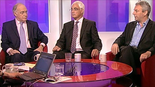 Lord Howard, Alistair Darling and Kevin Maguire